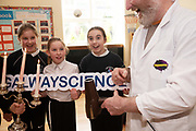 12/11/2018 Repro free: Galway Science and Technology Festival, the largest science event in Ireland, runs from 11-25 November featuring exciting talks, workshops and special events. Full programme at GalwayScience.ie. <br /> <br /> Sixth class pupils Patrycja Zaskalska <br /> Ella Fortune and Fáinche Joyce from Mercy Primary School galway City with  and Jay Ryan Xperimental.. Photo:Andrew Downes, Xposure.
