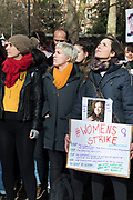 Hundreds of women gather in Russell Square for the Women's Strike Assembly on International Women's Day on 8th March 2018 in London, England, United Kingdom. International Women's Day is celebrated on March 8 every year. It commemorates the movement for women's rights, and for all women to stand together in solidarity over women's issues.