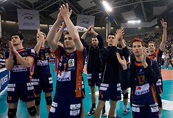Vid Jakpin, Venno Oliver, Andrej Flajs, Alen Skrt, Ales Fabjan of ACH after the 2nd Semifinal match of CEV Indesit Champions League FINAL FOUR tournament between ACH Volley, Bled, SLO and Trentino BetClic Volley, ITA, on May 1, 2010, at Arena Atlas, Lodz, Poland. Trentino defeated ACH 3-1. (Photo by Vid Ponikvar / Sportida)