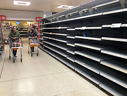 © Licensed to London News Pictures. 19/03/2020. Leeds UK. Empty shelves in the pasta isle in Sainsbury's in Colton, Leeds, as people continue to panic buy due to COVID 19.  Photo credit: Andrew McCaren/LNP