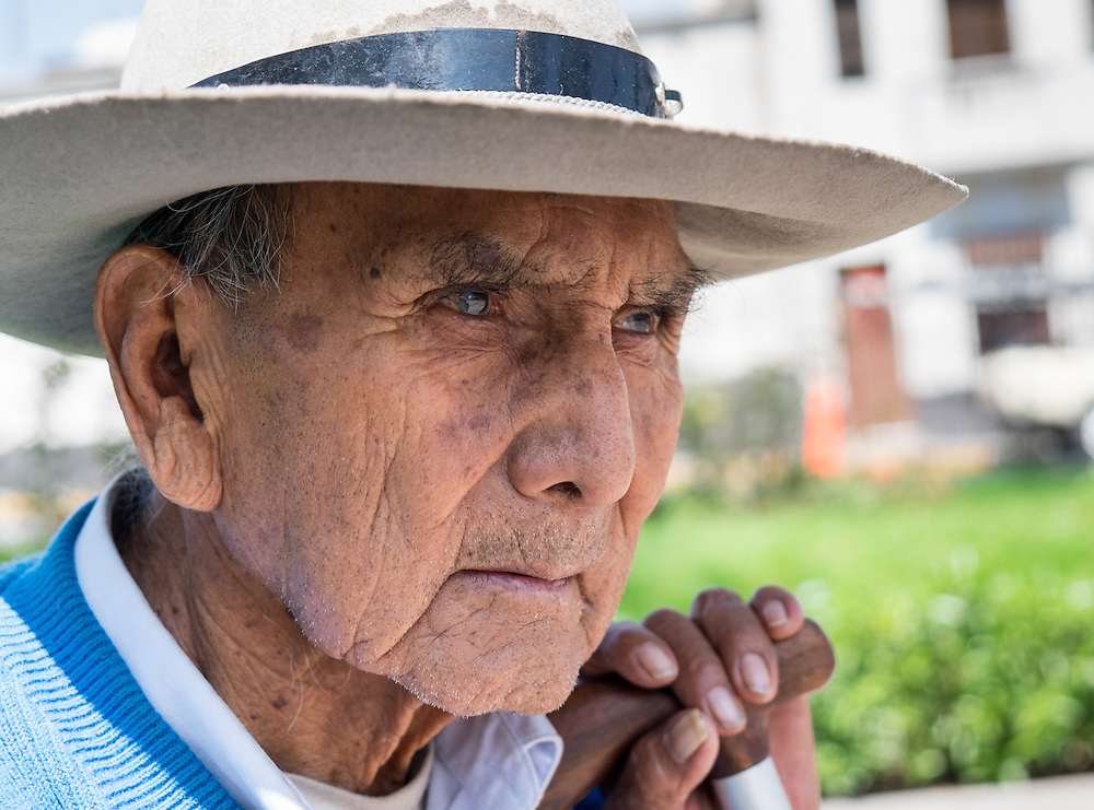AREQUIPA, PERU - CIRCA APRIL 2014: Portrait of old Peruvian man in the streets of Arequipa. Arequipa is the Second city of Perú by population with 861,145 inhabitants and is the second most industrialized and commercial city of Peru.
