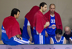 Ratko Varda of Azovmas, Hasan Rizvic of Azovmash, Denis Ivanov of Azovmash during basketball match between KK Krka and BC Azovmash Mariupol (UKR) of 4th Round of Regular season of Eurocup 2011/2012 on December 6, 2011, in Arena Leon Stukelj, Novo mesto, Slovenia. Krka defeated Azovmash 74-70. (Photo by Vid Ponikvar / Sportida)