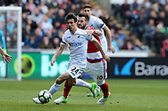 Jack Cork of Swansea city breaks away from Alvaro Negredo of Middlesbrough .Premier league match, Swansea city v Middlesbrough at the Liberty Stadium in Swansea, South Wales on Sunday 2nd April 2017.<br /> pic by Andrew Orchard, Andrew Orchard sports photography.