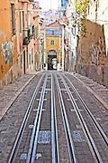 tram tracks  elevador da bica bairro alto lisbon portugal