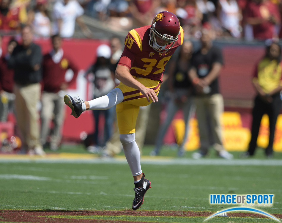 Sep 10, 2016; Los Angeles, CA, USA; USC Trojans place kicker Matt Boermeester (39) during a NCAA football game against the Utah State Aggies at Los Angeles Memorial Coliseum.