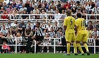 Photo: Andrew Unwin.<br /> Newcastle United v Villarreal. Pre Season Friendly. 05/08/2006.<br /> Newcastle's Nolberto Solano (L) curls the ball in for Shola Ameobi to head into the goal.