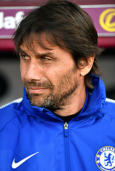 """Chelsea manager Antonio Conte during the Premier League match at Turf Moor, Burnley. PRESS ASSOCIATION Photo. Picture date: Thursday April 19, 2018. See PA story SOCCER Burnley. Photo credit should read: Anthony Devlin/PA Wire. RESTRICTIONS: EDITORIAL USE ONLY No use with unauthorised audio, video, data, fixture lists, club/league logos or """"live"""" services. Online in-match use limited to 75 images, no video emulation. No use in betting, games or single club/league/player publications."""