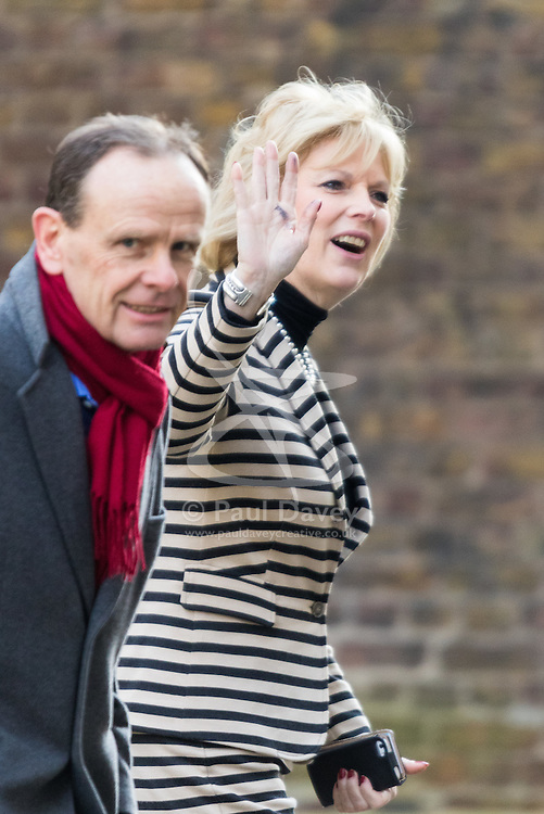 Downing Street, London, March 31st 2016. Small Business Minister Anna Soubry is doorstepped by the BBC's Norman Smith as she leaves Downing Street following an emergency meeting of senior government officials to discuss strategies aimed at saving the British steel industry following Tata Steel's decision to close the loss-making Port Talbot steel plant at Downing Street, London. ©Paul Davey<br /> FOR LICENCING CONTACT: Paul Davey +44 (0) 7966 016 296 paul@pauldaveycreative.co.uk