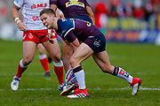 Leeds Rhinos hooker Matt Parcell (9) passes the ball  during the Betfred Super League match between Hull Kingston Rovers and Leeds Rhinos at the Lightstream Stadium, Hull, United Kingdom on 29 April 2018. Picture by Simon Davies.