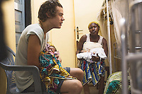 Harry with Nudina 1day old baby boy of mother Nusir in a..Princess Mary Louise Hospital, Accra, Ghana