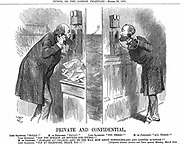 Opening of the Anglo-French telephone line. The British Prime Minister (Lord Salisbury) in conversation with the French President (Sadi Carnot). John Tenniel cartoon  from 'Punch', London 28 March 1891. Wood engraving.