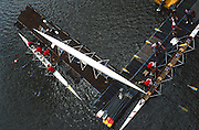 Gateshead, GREAT BRITAIN,  General Views GV's,  overhead images of boat and crew boating from the Dunston Staiths,  River Basin, Dunston, during the Gateshead Garden Festival.  [Photo Peter Spurrier/Intersport-images] 1990 Gateshead Sprint, Regatta,  Great Britain