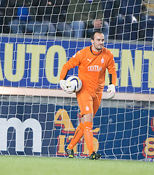 Falkirk's keeper Jamie MacDonald.<br /> Falkirk 1 v 0 Cowdenbeath, William Hill Scottish Cup game played 29/11/2014 at The Falkirk Stadium.