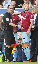 West Ham United's Marko Arnautovic (right) is substituted off after some confusion during the game