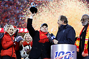 Kansas City Chiefs owners, Norma Hunt, left, and her son Clark Hunt, center, celebrate after the NFL AFC Championship football game against the Tennessee Titans Sunday, Jan. 19, 2020, in Kansas City, MO. The Chiefs won 35-24 to advance to Super Bowl 54. (AP Photo/Colin E. Braley) Colin Eric Braley Photography