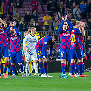 BARCELONA, SPAIN - November 27: The Barcelona team salute the fans at the end of the game during the Barcelona V Borussia Dortmund, UEFA Champions League group stage match at Estadio Camp Nou on November 27th 2019 in Barcelona, Spain. (Photo by Tim Clayton/Corbis via Getty Images)