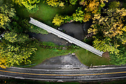 Aerial view of the Arch Bridge located in Avon, New York. The Arch Bridge was built in 1856-57 by the Genesee Valley Railroad. This section was abandoned in 1942. Photo by Alan Schwartz/GreenLightPhoto
