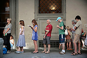 Uffizi, queue of people who haven't prebooked tickets, Florence, Italy, Frommer's Italy Day By Day