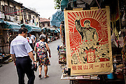Customers browse at Dongtai Lu antique market in Shanghai, China