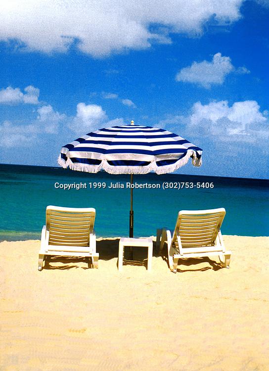 Beach Chairs & Umbrella on Sandy Ground Beach in Anguilla