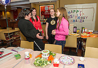 Mary Kate Russo, Courtney Pelletier, Shania Mulley and Bridget Annis celebrate Shania's 17th birthday at the Gilford Marriott Thursday evening after Shania's family was displaced by a fire in their Belmont home.  (Karen Bobotas/for the Laconia Daily Sun)