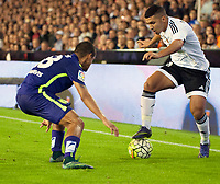 Valencia's Bakkali and Malaga CF's Rosales during La Liga match. October 17, 2015. (ALTERPHOTOS/Javier Comos)