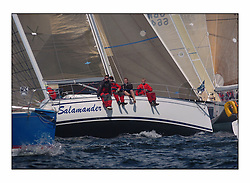 Racing at the Bell Lawrie Yachting Series in Tarbert Loch Fyne. Saturday racing started overcast but lifted throughout the day...3830C Salamander XVIII buried in the Class two start..