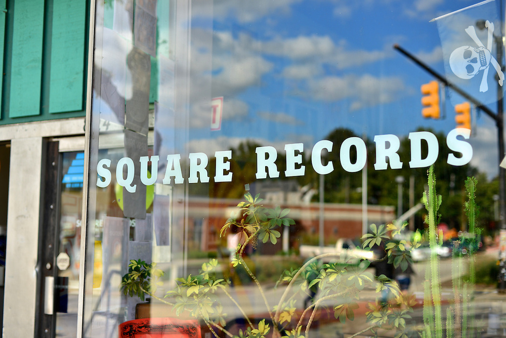 Front window at Square Records.