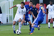 Samuele Ricci of Italy (7), Nadav Aviv Niddam of Israel (15) and Dan Lugassy of Israel (4) during the UEFA European Under 17 Championship 2018 match between Israel and Italy at St George's Park National Football Centre, Burton-Upon-Trent, United Kingdom on 10 May 2018. Picture by Mick Haynes.