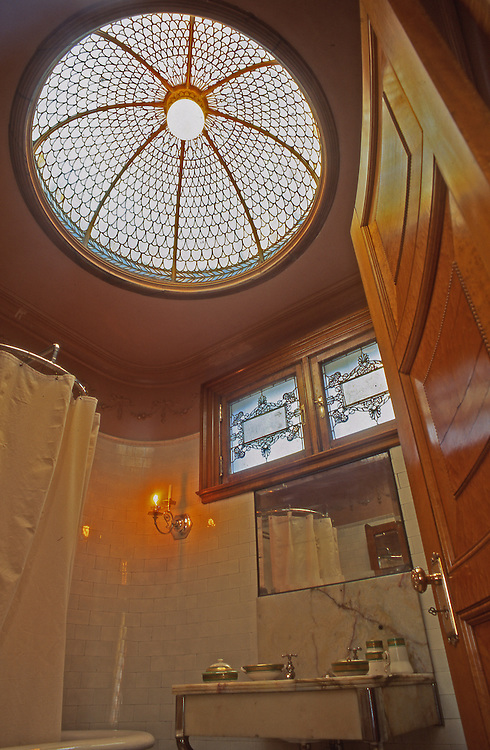 Henry Clay Frick Mansion and Museum, Pittsburgh, PA, Eloquent Bathroom and Skylight, Pittsburgh architect Frederick J. Osterling