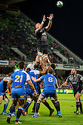 Luke Romano of the BNZ Crusaders is lifted for the line-out during the Canterbury Crusaders v the Western Force Super Rugby Match. Nib Stadium, Perth, Western Australia, 8th April 2016. Copyright Image: Daniel Carson / www.photosport.nz