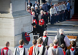 © London News Pictures. 11/11/2012. London, UK. HRH Queen Elizabeth II laying a wreath during a Remembrance Day Ceremony at the Cenotaph on November 11, 2012 in London, United Kingdom. Photo credit: Ben Cawthra/LNP