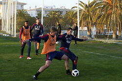 (L-R), Matthijs de Ligt of Ajax, Amin Younes of Ajax during a training session of Ajax Amsterdam at the Cascada Resort on January 08, 2018 in Lagos, Portugal