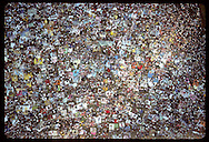Patchwork-quilt view of crowd on blankets waiting for outdoor concert at VP Fair;from Arch top Missouri