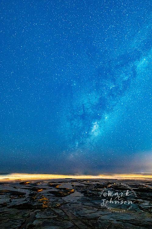 Milky Way starry skies over Dicky Beach, Sunshine Coast, Queensland, Australia