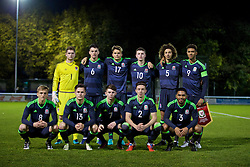 BANGOR, WALES - Tuesday, November 15, 2016: Wales players line up for a team group photograph before the UEFA European Under-19 Championship Qualifying Round Group 6 match against Luxembourg at the Nantporth Stadium. Back row L-R: goalkeeper Feral Hale-Brown, Regan Poole, Rhyle Ovenden, Nathan Broadhead, Ethan Ampadu, captain Tyler Roberts. Front row L-R: Matthew Smith, Liam Cullen, Ben Woodburn, Cameron Coxe, Cole DaSilva. (Pic by David Rawcliffe/Propaganda)