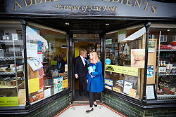 © Licensed to London News Pictures.  02/05/2015. ABINGDON, UK. Boris Johnson (centre left) talks with shop owners while campaigning in Abingdon with Nicola Blackwood (centre right in blue coat) who is standing for re-election as MP for the Oxford West and Abingdon constituency.  Photo credit: Cliff Hide/LNP