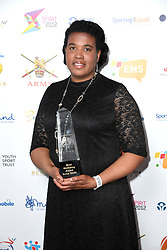 Sonia Smith wins the Mind Wellbeing Award at the third Lycamobile British Ethnic Diversity Sports Awards BEDSAs, held at the Park Lane Hilton Hotel, London