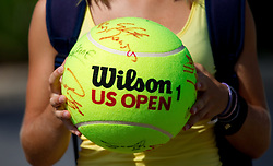 A big tennis ball for autographs at 1st Round of Singles at Banka Koper Slovenia Open WTA Tour tennis tournament, on July 20, 2010 in Portoroz / Portorose, Slovenia. (Photo by Vid Ponikvar / Sportida)