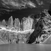 The iconic peaks of Las Torres in Torres del Paine National Park in Patagonia, Chile.