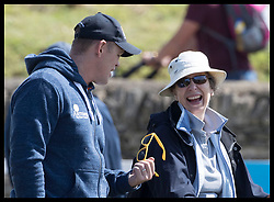 August 5, 2017 - United Kingdom - Image licensed to i-Images Picture Agency. 05/08/2017. Gatcombe Park, United Kingdom. Mike Tindall shows off his yellow sunglasses to  his mother in law Princess Anne on the second day of the Festival of British Eventing at Gatcombe Park, United Kingdom.  Picture by Stephen Lock / i-Images (Credit Image: © Stephen Lock/i-Images via ZUMA Press)