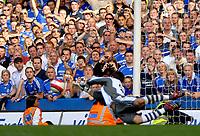 Photo: Ed Godden.<br />Chelsea v Charlton Athletic. The Barclays Premiership. 09/09/2006. Charlton goalkeeper Scott Carson saves the Chelsea penalty.