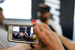 March 1, 2019 - Las Vegas, NV, U.S. - LAS VEGAS, NV - MARCH 01: A reporter records an interview with a smart phone as Paul Menard (21) Wood Brothers Racing Team Ford Mustang answers questions from the media in the ThriveHive Digital Center prior to practice and qualifying for the Monster Energy NASCAR Cup Series Pennzoil 400 on March 1, 2019, at Las Vegas Motor Speedway in Las Vegas, NV. (Photo by Joe Buglewicz/Icon Sportswire) (Credit Image: © Joe Buglewicz/Icon SMI via ZUMA Press)