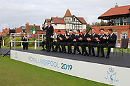 James Sugrue (GB&I) being introduced during the Official Opening of the Walker Cup, Royal Liverpool Golf CLub, Hoylake, Cheshire, England. 06/09/2019.<br /> Picture Thos Caffrey / Golffile.ie<br /> <br /> All photo usage must carry mandatory copyright credit (© Golffile | Thos Caffrey)