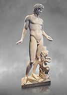 Roman statue of Apollo. known as the Chigi Apollo,  mid 2nd cent. AD from the Imperial Villa, Rome. As suggested by the quiver strap slung across the body, the god held a bow and arrow , in a pose of absorbed meditation. Wrapped around the tree trunk which acts as a support are gods attributes: the laurel and the snake. This classical statue is a reworking of an original Greek statue of the 4th cent. BC.  Inv 75675, The National Roman Museum, Rome, ItalyThe National Roman Museum, Rome, Italy