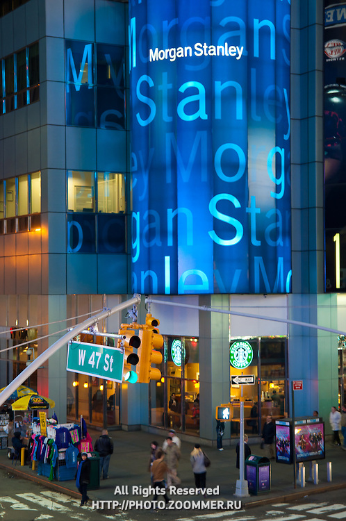 Morgan Stanley Office on W 47 street on Times Square, New York City, USA