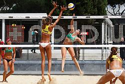 12-06-2012 VOLLEYBAL: WORLD TOUR BEACHVOLLEYBAL SMART GRAND SLAM: ROME <br /> (L-R) Liliane Maestrini, nr. 2 BRA green, Raquel Pellucci, nr. 2 BRA yellow, Angela Vieira, nr.1 BRA green, Maria Clara Salgado Rufino, nr.1 BRA yellow<br /> ©2012-FotoHoogendoorn.nl / Pim Waslander