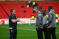 Burton Albion manager Nigel Clough chats to his players during the EFL Sky Bet Championship match between Nottingham Forest and Burton Albion at the City Ground, Nottingham, England on 21 October 2017. Photo by John Potts.