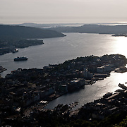 Three weeks aboard the Kong Harald. Hurtigruten, the Coastal Express. Bergen from the top of Floybanen, the funicular.