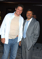 Left to right, MARCO PIERRE WHITE and the HON.SIR ROCCO FORTE at the opening party of the new Frankie's Italian Bar and Grill hosted by Frankie Dettori, Marco Pierre White and Edward Taylor at 68 Chiswick High Road, London W4 on 1st September 2005.<br />